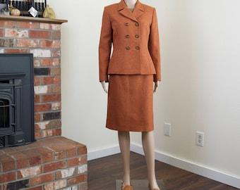 Vintage rust skirt suit set / 90s blazer pencil skirt set