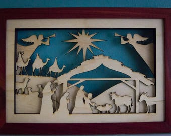 Laser Cut Wood Dimensional Christmas Nativity Scene