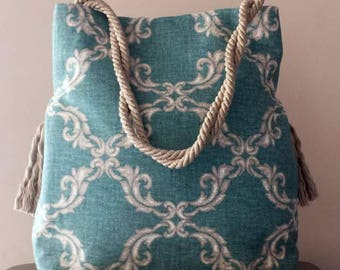 Fabric shoulder bag Green/turquoise fantasy