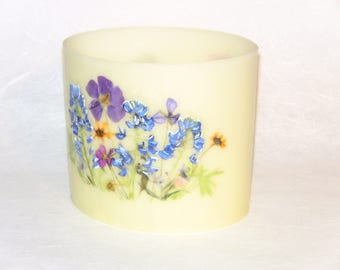Handmade Beeswax Luminary, Texas Wildflower, Limited Edition