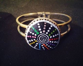 Bracelet multicolored spiral painted roller