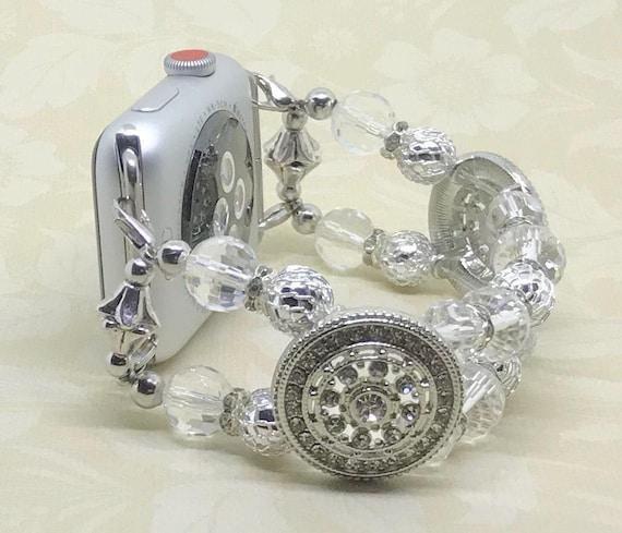 "Apple Watch Band, Women Bead Bracelet Watch Band, iWatch Strap, Apple Watch 38mm, Apple Watch 42mm, Clear Silver Swarovski Crystals 6 1/2"""