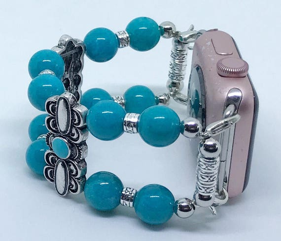 Apple Watch Band*, Women Bead Bracelet Watch Band, iWatch Strap, Apple Watch 38mm, 42mm, Turquoise Beads Decorative Silver Slider Size 5 3/4