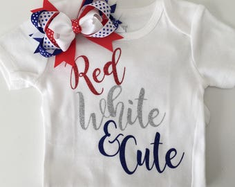 4th of July bodysuit | Red, white & Cute onesie | 1st 4th of July bodysuit