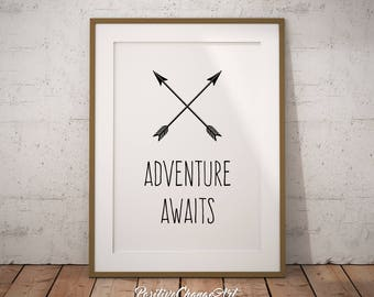 Adventure Awaits Print, Adventure Awaits Poster, Tribal Nursery Decor, Adventure Awaits Printable, Art Print, Wall Art, Adventure Nursery
