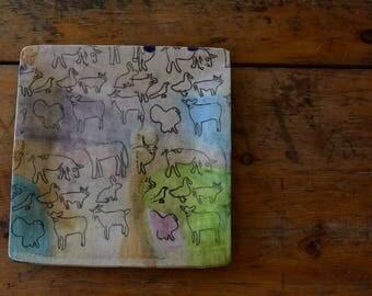 Julie's Watercolor Barnyard Square Platter