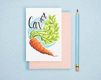 Carrot Illustration Print - Vegetable Print, Rustic Kitchen Decor, Food Illustration, Foodie Art Print, Vegetable Postcard, Vegan Wall Art