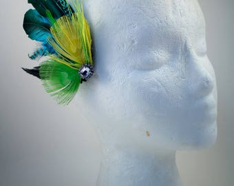 Spring, Fascinator, hair clip, bride, wedding, prom, grad, feathers,