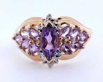 Amethyst and Diamond Ring, 0.48ct, 10K Gold (10R331)