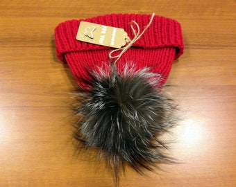 Cashmere Pom Pom Hat 100% Cashmere Beanie Real Fur Pompom Slouchy Chunky Hat Ski clothing - Made to order!