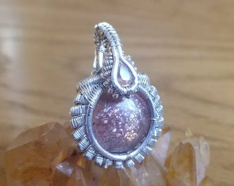 Sunstone Pendant, Confetti Sunstone Pendant, Faceted Sunstone, Wire Wrapped Pendant, Sterling Silver