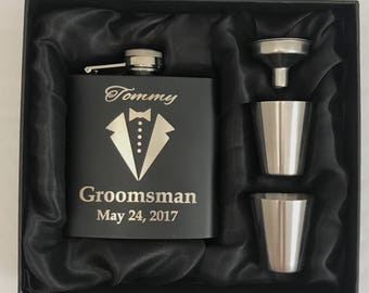 Groomsmen Gifts - Groomsmen Flask Gift Sets - Groomsman Gift - Groomsmen Flask Kit -  Groomsmen Flask -  Wedding Party Gift - Tuxedo
