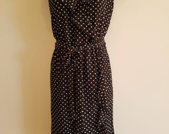 80's 90's / Black & White Polka Dot / Floaty Summer Tea Dress / Size 16