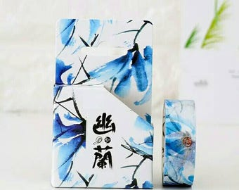 Blue Orchid Water paint Japanese Washi Tape. Pretty tape.