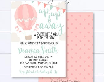 Hot Air Balloon Invitation, Up Up And Away Invitation, Hot Air Balloon Invitation, Hot Air Balloon Baby Shower, Girl Baby Shower, Printable