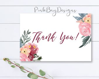 Floral Thank You Card, Watercolor Floral Thank You Card, Bridal Shower Thank You, Baby Shower Thank You, Floral Thank You, Instant Download