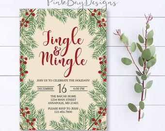 Jingle And Mingle Invitation, Christmas Party Invitation, Christmas Dinner Invite, Holiday Party Invitation, Holiday Party, Holiday Invite