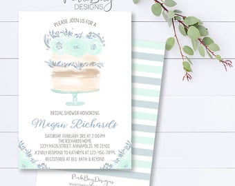 Blue Cake Bridal Shower Invitation, Cake Bridal Shower Invite, Watercolor Bridal Shower Invite, Floral Shower Invite, Bridal Shower Invite