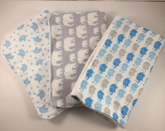 Set of 3! Burp Cloths - Elephant Collection with Appliqué
