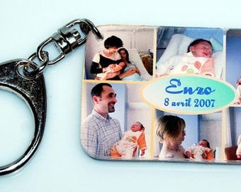 Key chain with 12 pictures peels mixes + text (6 photos on the front, 6 photos on the back)