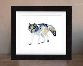 wolf art print, gray wolf, wolf artwork, wolf gift idea, wolf art, wolf wall art, wolf nursery, wildlife art, art print, saltwatercolors