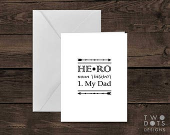Printable 5x7 My Dad Is My Hero Fathers Day Greeting Card - My Dad, Hero, Fathers Day, Definition, Printable Card, Card