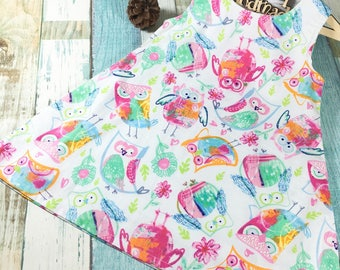 Handmade A Line One Piece Dress Lovely Owls Fabric Editions
