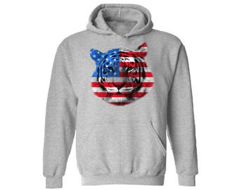 USA Flag Tiger Hoodie Sweatshirt Hooded Sweatshirt Independence Day Gift 4th of July Tiger Patriotic