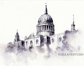 London Watercolor Art Print, London Architecture Print, London Skyline, Architecture Print, London Print,  Black and White Watercolor