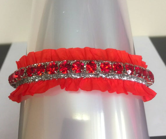 Cutie Pie Pet Collars TM ~Ruby Red & Silver Ruffle Christmas Holiday  Large Crystals~ Diamante Rhinestone Pet Dog Cat PU Leather Collar USA