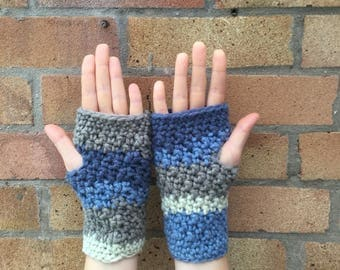 Handmade crocheted fingerless gloves / arm warmers