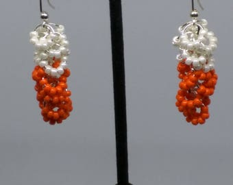 Orange and white Clemson Tiger cluster earrings,  2 inches long. FREE SHIPPING