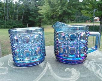 Vintage Blue Carnival Glass Creamer and Sugar