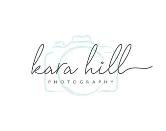 Photography Logo, Photographer Logo, Camera Logo, Watercolor Logo, Handwritten Logo, Calligraphy Logo, Logo Set, Premade Logo, Logo Design