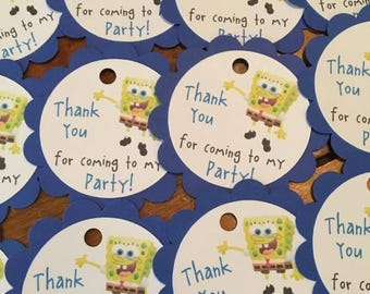 12 Sponge Bob Party Favor Tags (can be personalized)