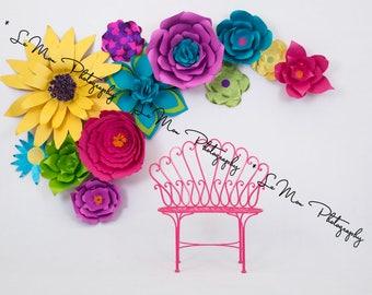 Digital background, flowers, blooms, pink, purple, yellow, photoshop, flower, garden, paper