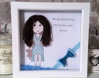 Personalised baby/girl box frame, girl with teddy bear, wall decor, blue