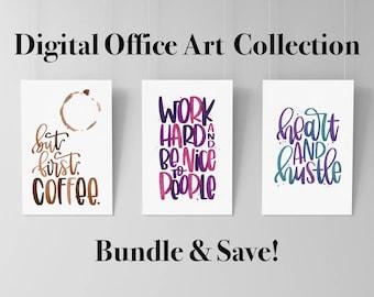 Watercolor Office Art Bundle - Digital Prints, Printable Art, Multiple Color Options Available, Canvas Prints, Dorm Decor, Home Decor
