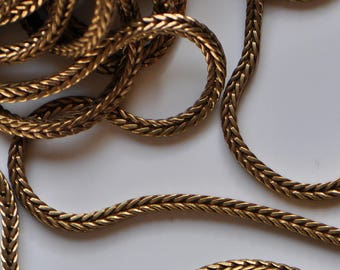 3 Feet Foxtail Chain Raw Brass Gold Tone 4 mm Square 1 Yard