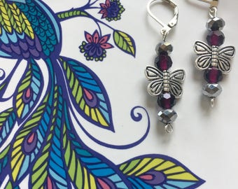 Purple & butterflies dangle earrings