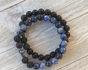 Essential Oil Diffuser Bracelet Set, Aromatherapy Bracelets, Lava Diffuser, Sodalite, Onyx, Includes 1ml EO Sample Blend, Ships FREE in US