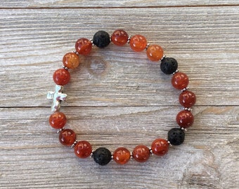 Essential Oil Diffuser Bracelet, Aromatherapy Bracelet, Carnelian, Lava Diffuser, Includes 1ml EO Sample Blend, Ships FREE in US