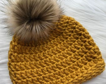 Chunky Crochet Beanie with Faux Fur Pom Pom - Mustard // Yellow // Brown