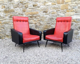 Mid Century Pair of Armchairs / Red & Black / Vintage Armachairs / Retro Home Furniture /France 50s 60s