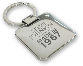 Personalised engraved SILVER PLATED 50th birthday keyring gift, deluxe pillow square keyring - QMA50