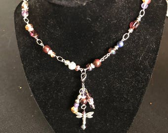 Amethyst and Garnet T Necklace
