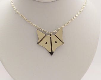 Necklace chain and Fox beige leather - handmade