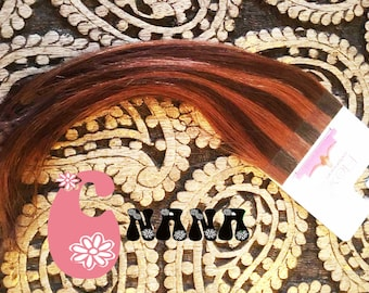 """Brown and copper, extension hair band sticker human hair Extensions, hair Extensions, 15 """", skin/glue"""