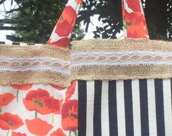 Poppy and white stripes patchwork tote bag!