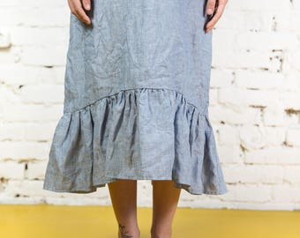 Drop ruffle maxi linen dress. Washed and soft linen dress/LD0026